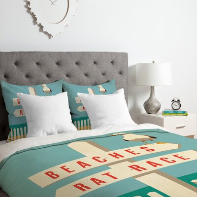 Sign Post Duvet Cover Set Size: Queen