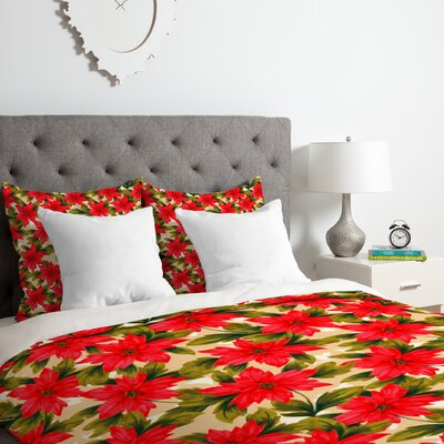 Poinsettia Duvet Cover Set Size: Queen