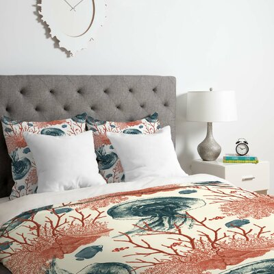 Belle 13 Coral and Jellyfish Duvet Cover Set Size: Twin/Twin XL