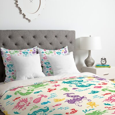 Andi Bird Merry Mermaids Duvet Cover Set Size: King