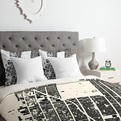 City Fabric Inc. NYC Midtown Duvet Cover Set Color: Black, Size: Queen