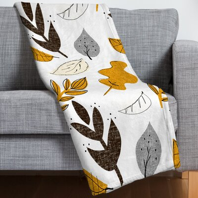 Mummysam Fall Leaves Throw Blanket Size: 60 H x 80 W x 1.5 D