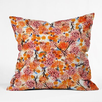 Floral Forest Throw Pillow Size: 16 H x 16 W x 4 D
