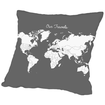 Our Travels Throw Pillow Size: 18 H x 18 W x 2 D, Color: Steel