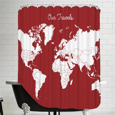 Our Travels Shower Curtain Color: Crimson