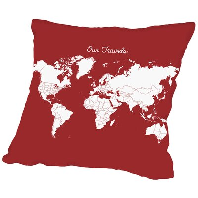Our Travels Throw Pillow Size: 14 H x 14 W x 2 D, Color: Crimson