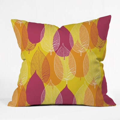 Big Leaves Throw Pillow Size: 16 H x 16 W x 4 D