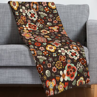 Pimlada Phuapradit Candy Floral Cacao Throw Blanket Size: 60 H x 80 W x 1.5 D