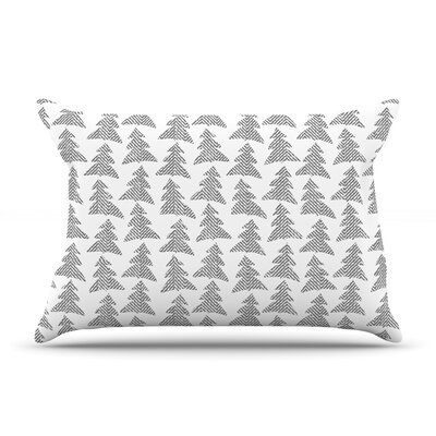 Michelle Drew Herringbone Forest Black Pillow Case Color: Gray