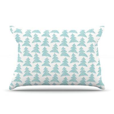 Michelle Drew Herringbone Forest Black Pillow Case Color: Blue