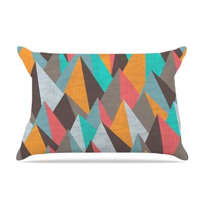 Michelle Drew Mountain Peaks I Pillow Case Color: Orange/Teal
