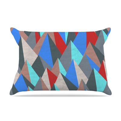 Michelle Drew Mountain Peaks I Pillow Case Color: Blue/Red
