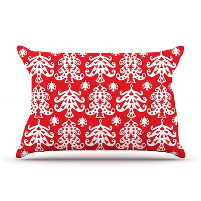 Miranda Mol Ornate Trees Holiday Pillow Case Color: Red
