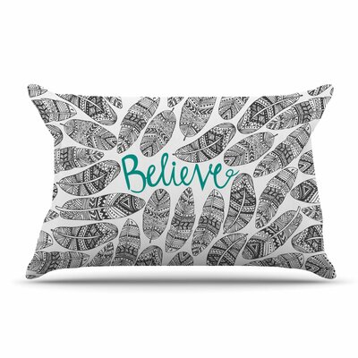 Pom Graphic Design Believe Pillow Case Color: Gray/Teal