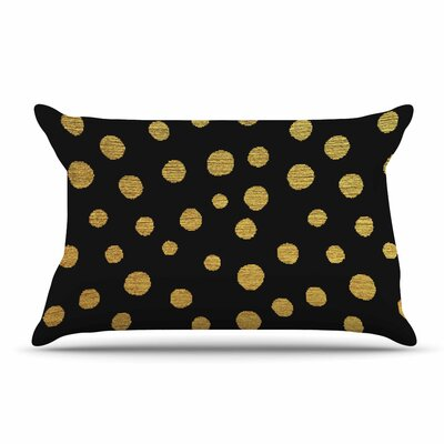 Nika Martinez Golden Dots Pillow Case Color: Black