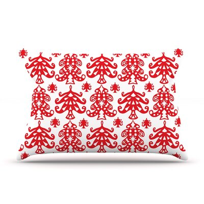 Miranda Mol Ornate Trees Holiday Pillow Case Color: White