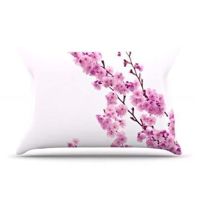 Monika Strigel Cherry Sakura Floral Pillow Case Color: Pink