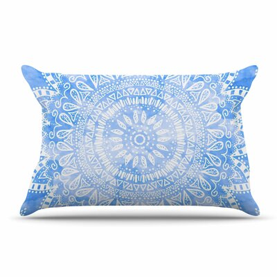 Nika Martinez Boho Flower Mandala Pillow Case Color: Blue/Aqua