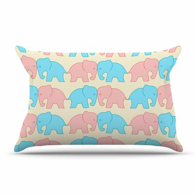 NL Designs Pastel Elephants On Parade Pastel Animals Pillow Case