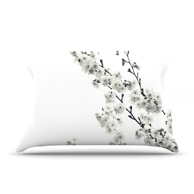 Monika Strigel Cherry Sakura Floral Pillow Case Color: White