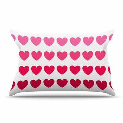 NL Designs Teal Hearts love Pillow Case Color: Pink