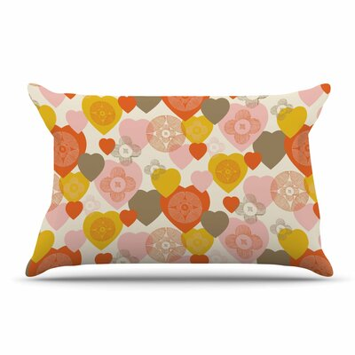 Maike Thoma Retro Hearts Design Pillow Case