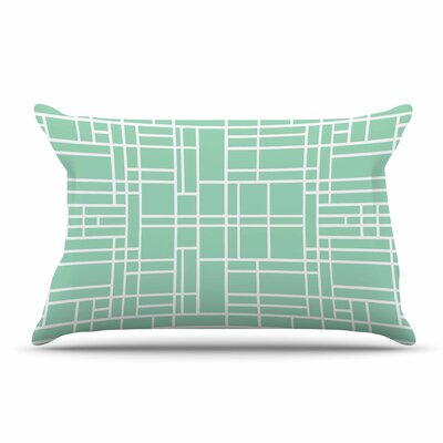Project M Map Outline Geometric Lines Pillow Case Color: Mint