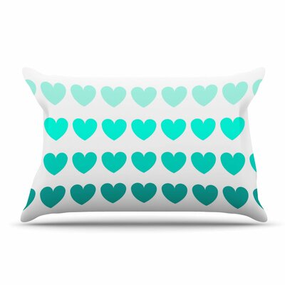 NL Designs Teal Hearts love Pillow Case Color: Blue