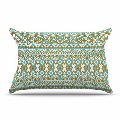 Pom Graphic Design Mint & Gold Tribals Pillow Case