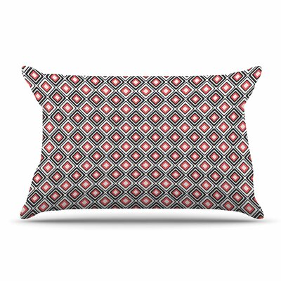 Nandita Singh Bright Squares Pillow Case Color: Coral/Black