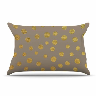 Nika Martinez Golden Dots Pillow Case Color: Brown