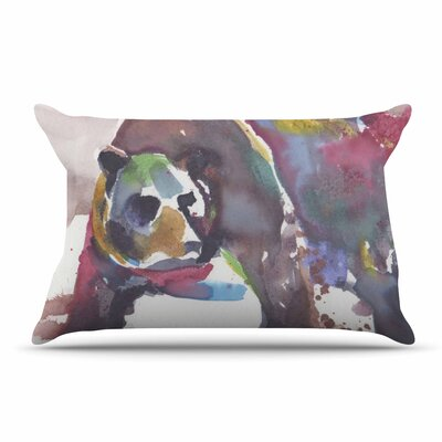 Rebecca Bender Grizzly Bear Watercolor Abstract Animal Pillow Case