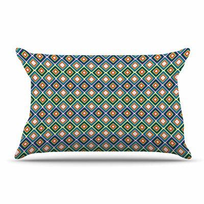 Nandita Singh Bright Squares Pillow Case Color: Blue