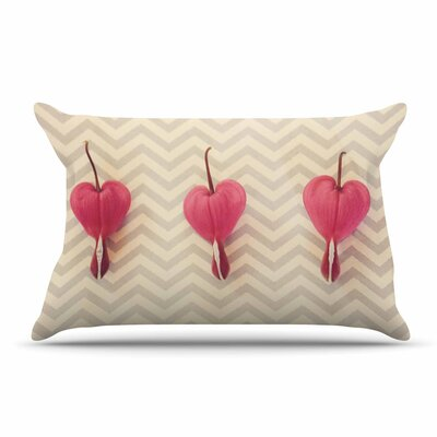 Robin Dickinson Pink Heart With Chevrons Floral Pillow Case