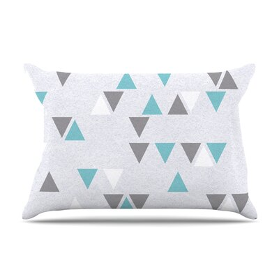 Nick Atkinson Triangle Love Pillow Case Color: Teal