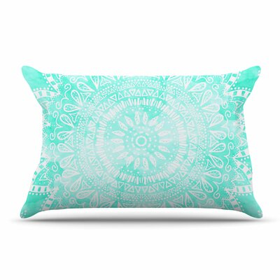 Nika Martinez Boho Flower Mandala Pillow Case Color: Aqua/Green
