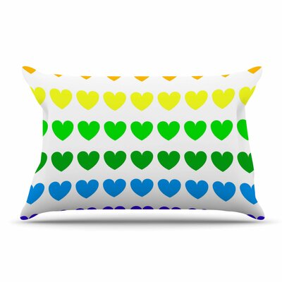 NL Designs Teal Hearts love Pillow Case Color: Rainbow