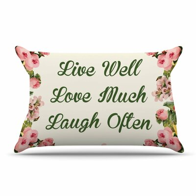 NL Designs Live, Love, Laugh Floral Typography Pillow Case