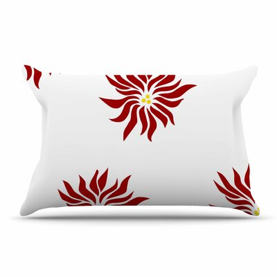 NL Designs Snow Flowers Pillow Case Color: Maroon