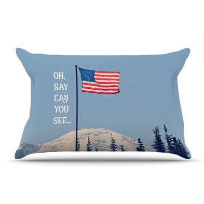 Robin Dickinson Oh Say Can You See Flag Typography Pillow Case