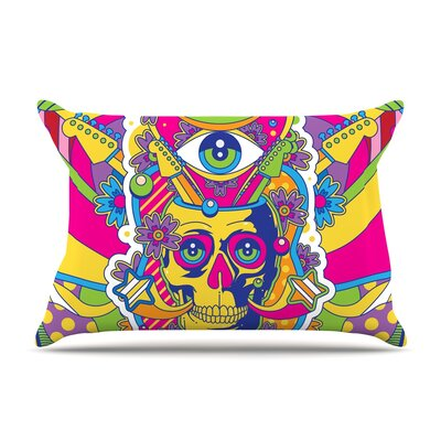 Roberlan Skull Rainbow Illustration Pillow Case