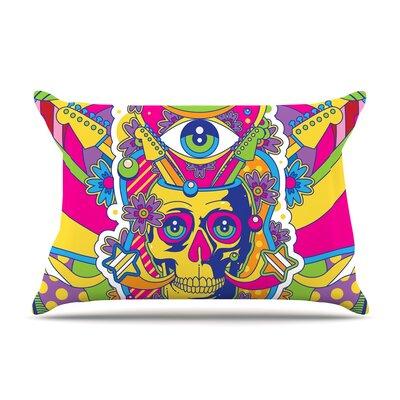 Roberlan Skull Rainbow Illustration Pillow Case