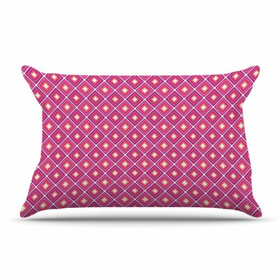 Nandita Singh Bright Squares Pillow Case Color: Pink