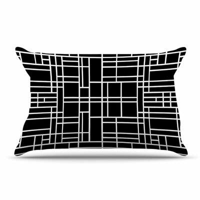 Project M Map Outline Geometric Lines Pillow Case Color: Black