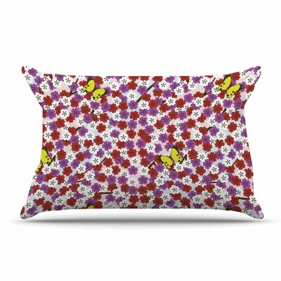 Setsu Egawa Cherry Blossom And Butterfly Pillow Case