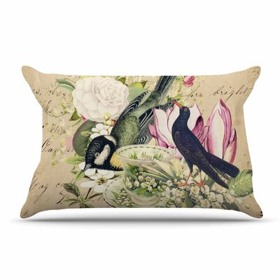 Suzanne Carter Vintage Tea Bird Illustration Pillow Case