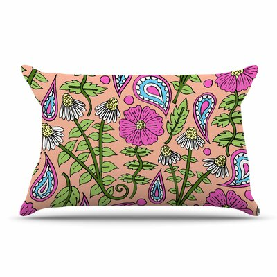 Sarah Oelerich Peach Floral Paisley Pillow Case