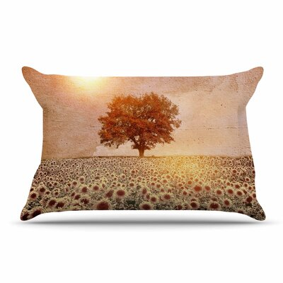 Viviana Gonzalez Lone Tree & Sunflowers Field Sunny Nature Pillow Case