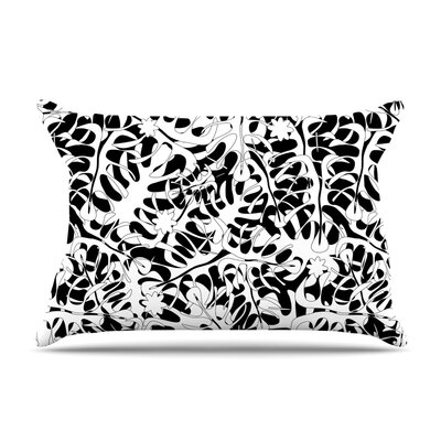 Julia Grifol White Leaves Pillow Case