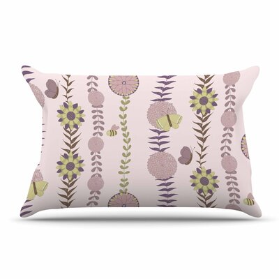 Judith Loske Purple Flower Blush Pillow Case Color: Purple/Blush